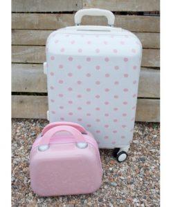 βαλίτσα τρόλεϊ λευκή ροζ πουά
